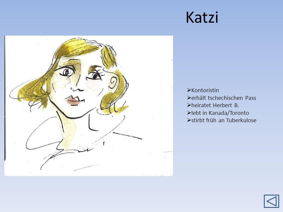 Katzi Kontoristin erhält tschechischen Pass heiratet Herbert B. lebt in Kanada/Toronto stirbt früh an Tuberkulose