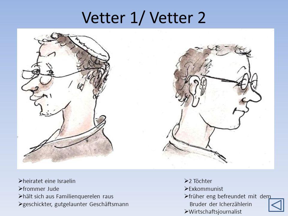 Vetter 1/ Vetter 2 2 Töchter Exkommunist früher eng befreundet mit dem Bruder der Icherzählerin Wirtschaftsjournalist heiratet eine Israelin frommer J