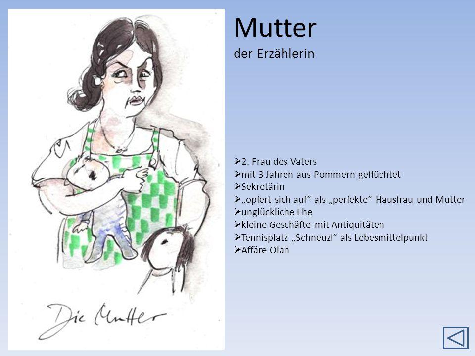 Mutter der Erzählerin 2. Frau des Vaters mit 3 Jahren aus Pommern geflüchtet Sekretärin opfert sich auf als perfekte Hausfrau und Mutter unglückliche