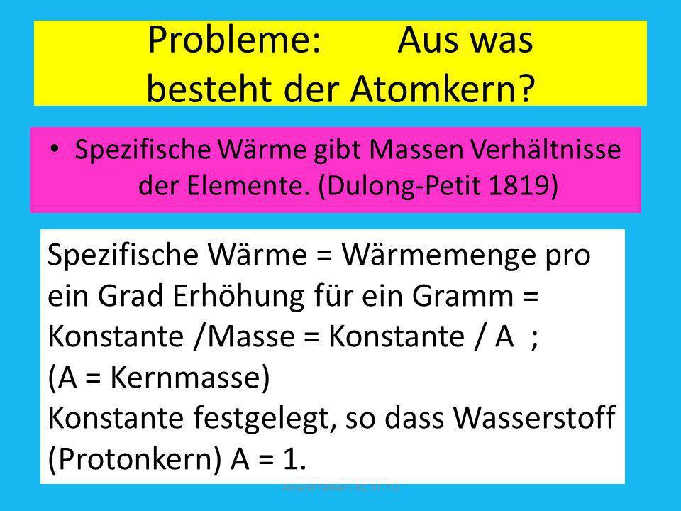Probleme: Aus was besteht der Atomkern? Spezifische Wärme gibt Massen Verhältnisse der Elemente. (Dulong-Petit 1819) Amand Fäßlerr, RC RT-TÜ Spezifisc