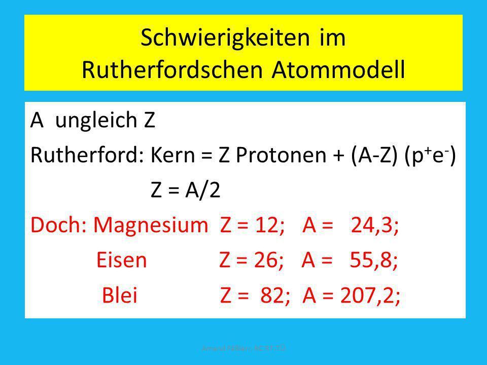 Schwierigkeiten im Rutherfordschen Atommodell A ungleich Z Rutherford: Kern = Z Protonen + (A-Z) (p + e - ) Z = A/2 Doch: Magnesium Z = 12; A = 24,3;