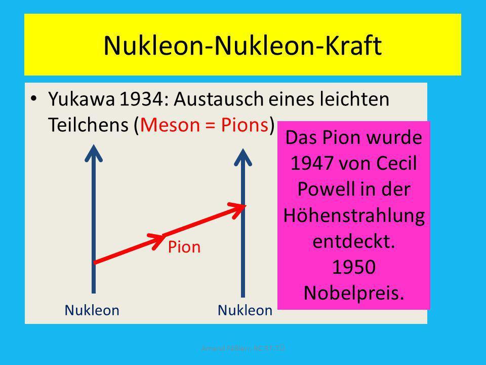 Nukleon-Nukleon-Kraft Yukawa 1934: Austausch eines leichten Teilchens (Meson = Pions) Amand Fäßlerr, RC RT-TÜ Nukleon Pion Das Pion wurde 1947 von Cec