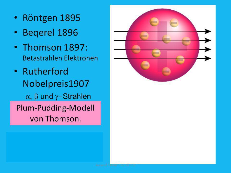 Schwierigkeiten im Rutherfordschen Atommodell A ungleich Z Rutherford: Kern = Z Protonen + (A-Z) (p + e - ) Z = A/2 Doch: Magnesium Z = 12; A = 24,3; Eisen Z = 26; A = 55,8; Blei Z = 82; A = 207,2; Amand Fäßlerr, RC RT-TÜ
