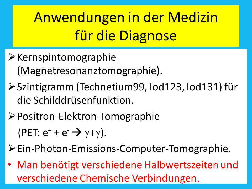Anwendungen in der Medizin für die Diagnose Kernspintomographie (Magnetresonanztomographie). Szintigramm (Technetium99, Iod123, Iod131) für die Schild