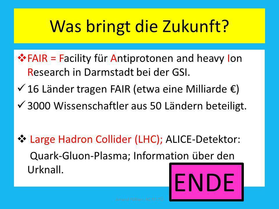 Was bringt die Zukunft? FAIR = Facility für Antiprotonen and heavy Ion Research in Darmstadt bei der GSI. 16 Länder tragen FAIR (etwa eine Milliarde )