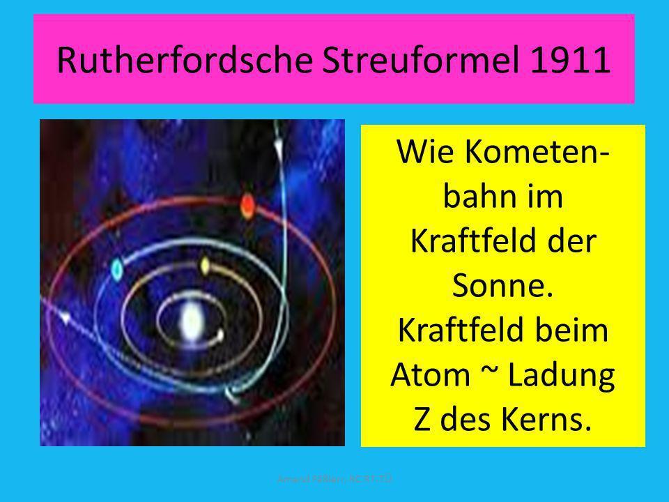 Alphateilchen kommt von links auf Goldkern (Rutherford 2011) Amand Fäßlerr, RC RT-TÜ Wenn Kern (rot) so groß wie ein Apfel dann Atom 1 km Durchmesser.
