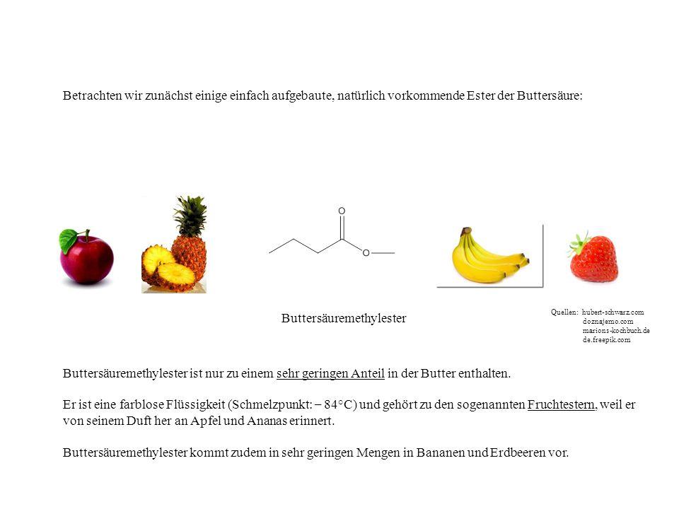 Buttersäuremethylester Buttersäuremethylester ist nur zu einem sehr geringen Anteil in der Butter enthalten. Er ist eine farblose Flüssigkeit (Schmelz