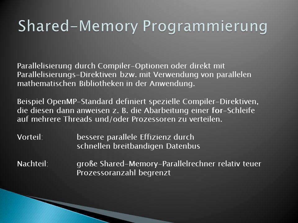 Parallelisierung durch Compiler-Optionen oder direkt mit Parallelisierungs-Direktiven bzw. mit Verwendung von parallelen mathematischen Bibliotheken i