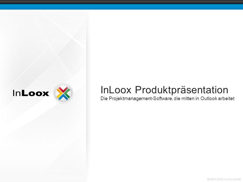 Seite 12 InLoox Produktpräsentation © 2001-2010 InLoox GmbH Ein Projekt öffnen Ein Doppelklick öffnet das entsprechende Projekt In der Projektliste entspricht eine Zeile einem Projekt