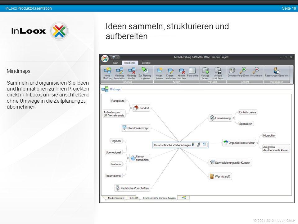 Seite 19 InLoox Produktpräsentation © 2001-2010 InLoox GmbH Ideen sammeln, strukturieren und aufbereiten Mindmaps Sammeln und organisieren Sie Ideen u