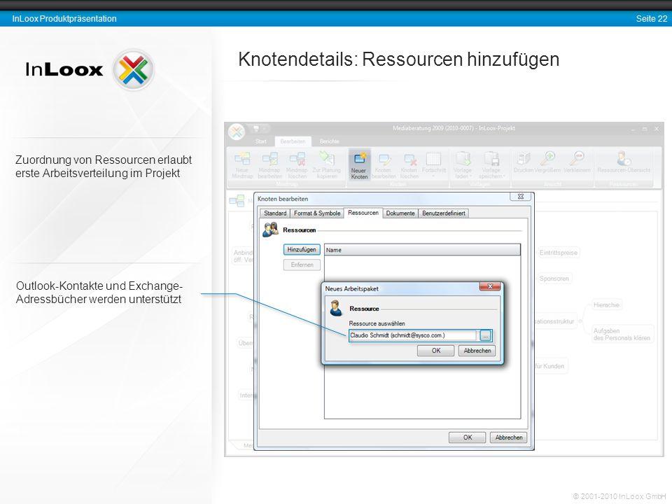 Seite 22 InLoox Produktpräsentation © 2001-2010 InLoox GmbH Knotendetails: Ressourcen hinzufügen Outlook-Kontakte und Exchange- Adressbücher werden un