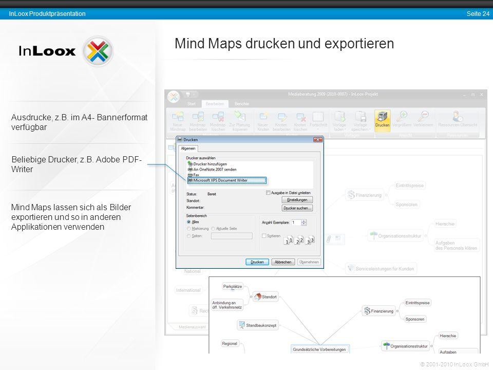 Seite 24 InLoox Produktpräsentation © 2001-2010 InLoox GmbH Mind Maps drucken und exportieren Beliebige Drucker, z.B. Adobe PDF- Writer Mind Maps lass
