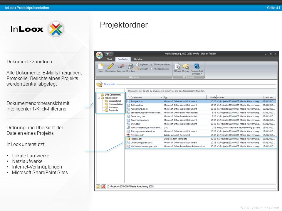 Seite 41 InLoox Produktpräsentation © 2001-2010 InLoox GmbH Projektordner Dokumente zuordnen Alle Dokumente, E-Mails Freigaben, Protokolle, Berichte e