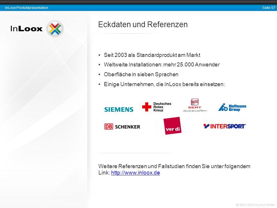 Seite 57 InLoox Produktpräsentation © 2001-2010 InLoox GmbH Eckdaten und Referenzen Seit 2003 als Standardprodukt am Markt Weltweite Installationen: m