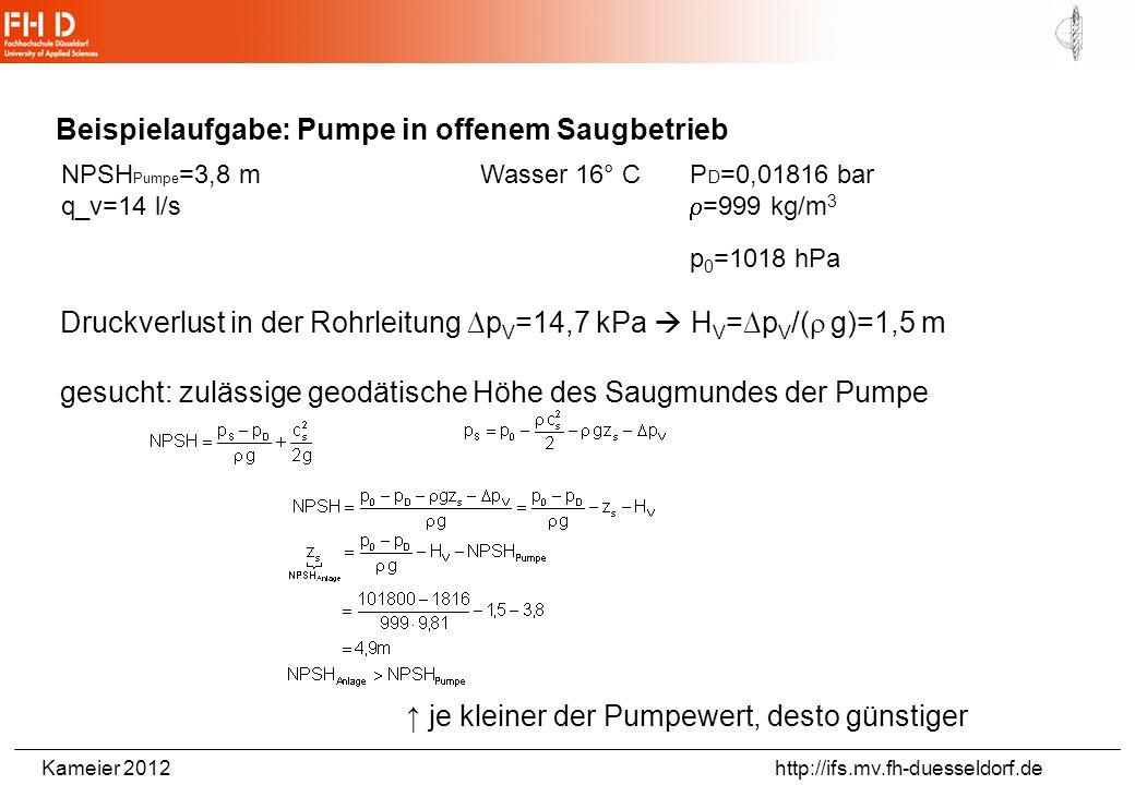 Kameier 2012 http://ifs.mv.fh-duesseldorf.de Pumpencharakteristik für 2 Drehzahlen und Verlauf des NPSH-Wertes aus: Käppeli, Strömungslehre und Strömu
