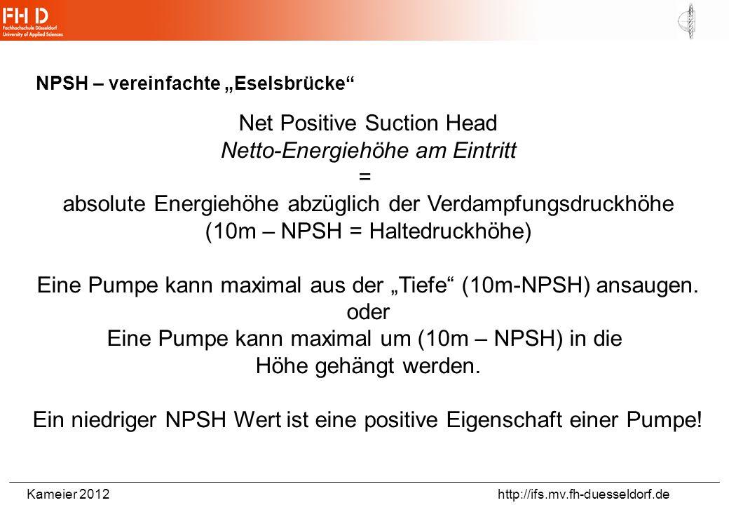 Kameier 2012 http://ifs.mv.fh-duesseldorf.de Beispielaufgabe: Pumpe in offenem Saugbetrieb NPSH Pumpe =3,8 mWasser 16° C P D =0,01816 bar q_v=14 l/s =