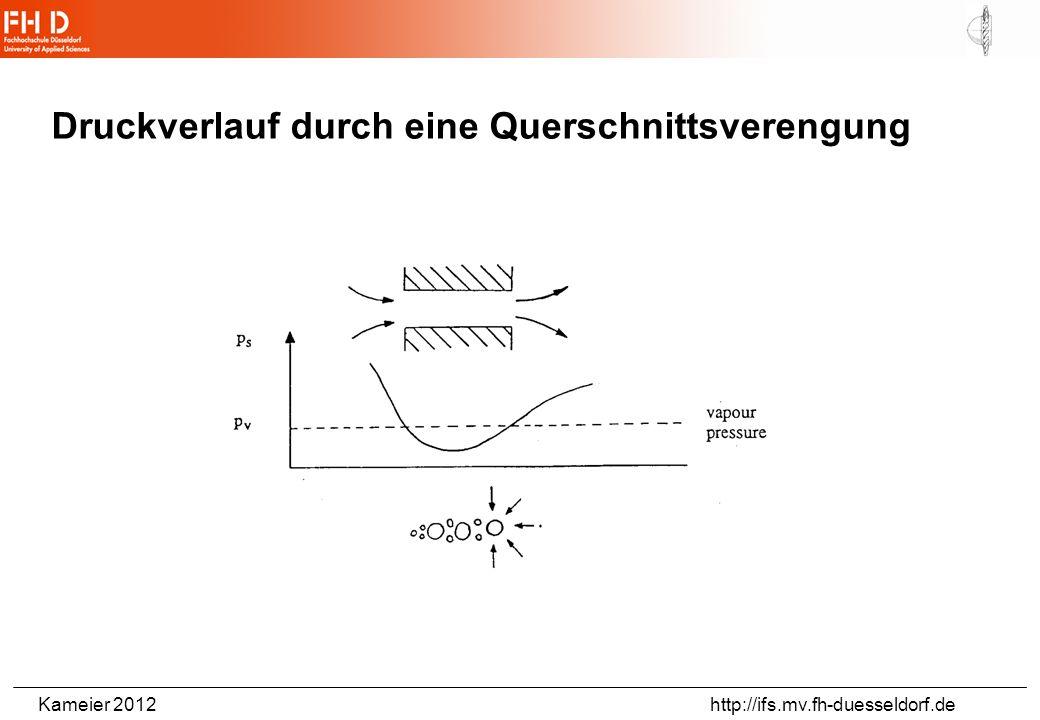 Kameier 2012 http://ifs.mv.fh-duesseldorf.de NPSH – vereinfachte Eselsbrücke Net Positive Suction Head Netto-Energiehöhe am Eintritt = absolute Energiehöhe abzüglich der Verdampfungsdruckhöhe (10m – NPSH = Haltedruckhöhe) Eine Pumpe kann maximal aus der Tiefe (10m-NPSH) ansaugen.