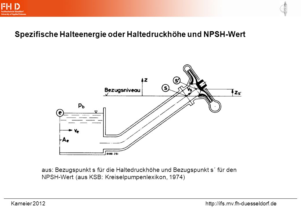 Kameier 2012 http://ifs.mv.fh-duesseldorf.de Spezifische Halteenergie oder Haltedruckhöhe und NPSH-Wert aus: Bezugspunkt s für die Haltedruckhöhe und Bezugspunkt s´ für den NPSH-Wert (aus KSB: Kreiselpumpenlexikon, 1974)