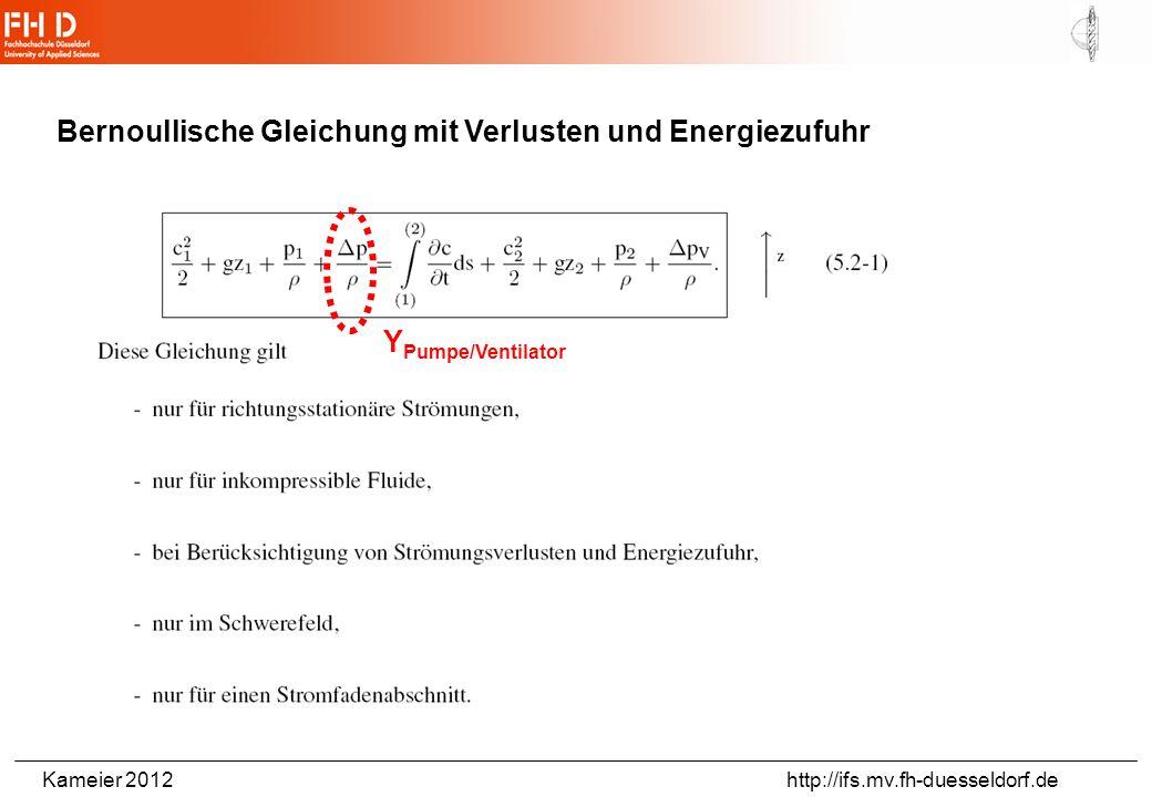 Kameier 2012 http://ifs.mv.fh-duesseldorf.de Bernoullische Gleichung mit Verlusten und Energiezufuhr Y Pumpe/Ventilator