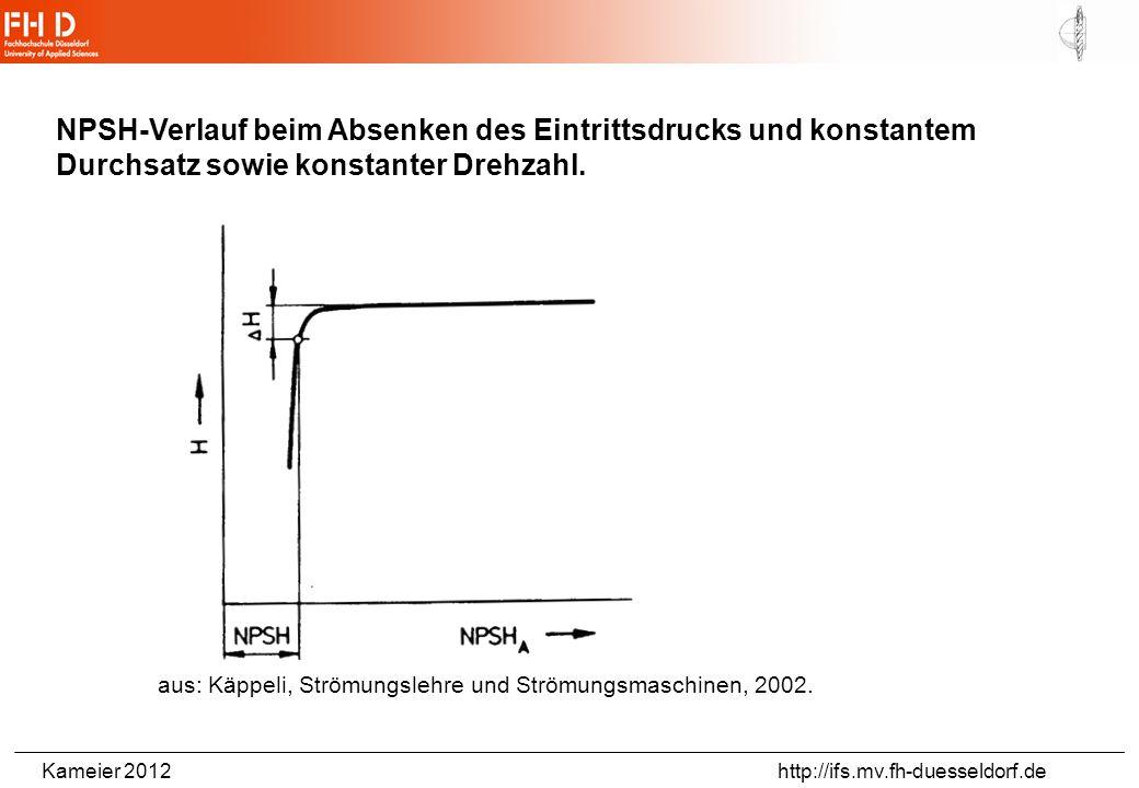 Kameier 2012 http://ifs.mv.fh-duesseldorf.de NPSH-Verlauf beim Absenken des Eintrittsdrucks und konstantem Durchsatz sowie konstanter Drehzahl.