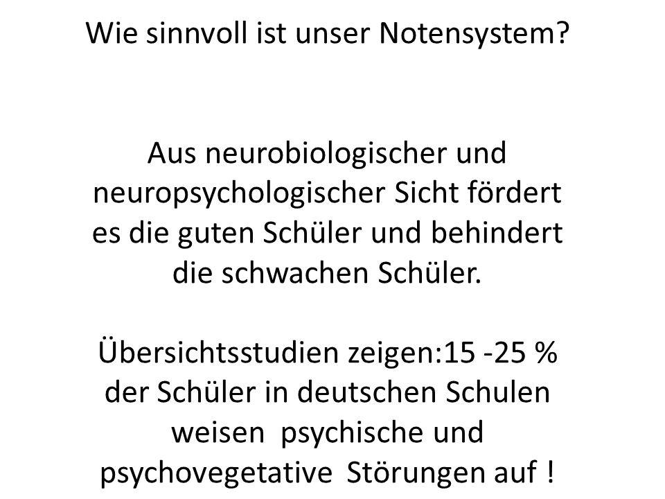 Wie sinnvoll ist unser Notensystem? Aus neurobiologischer und neuropsychologischer Sicht fördert es die guten Schüler und behindert die schwachen Schü