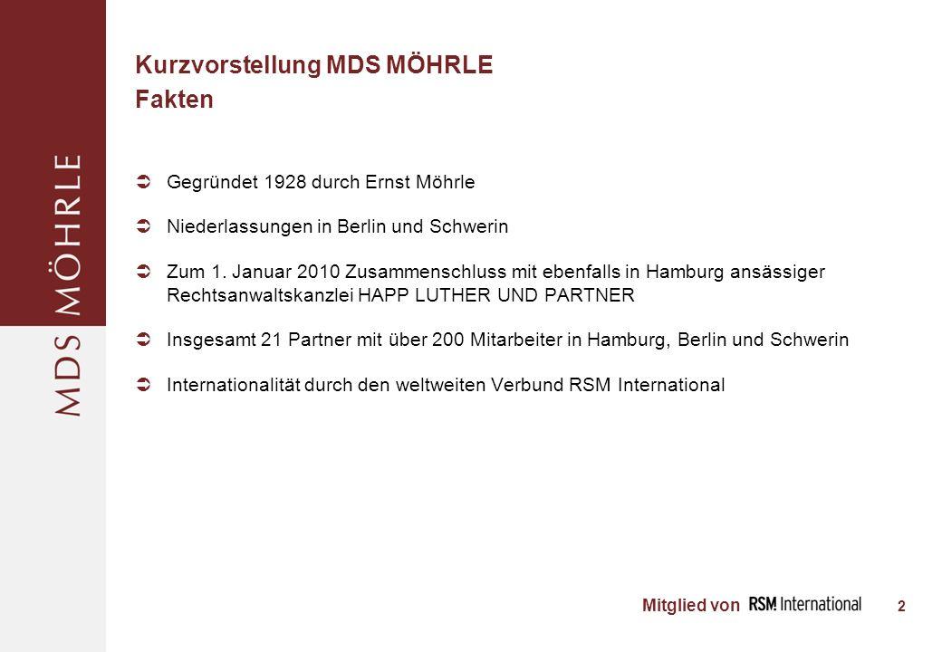 Mitglied von Kurzvorstellung MDS MÖHRLE Fakten Gegründet 1928 durch Ernst Möhrle Niederlassungen in Berlin und Schwerin Zum 1.
