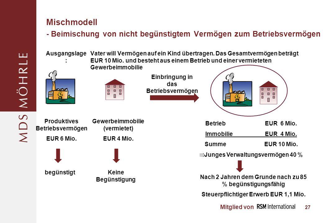 Mitglied von Mischmodell - Beimischung von nicht begünstigtem Vermögen zum Betriebsvermögen - 27 BetriebEUR 6 Mio.