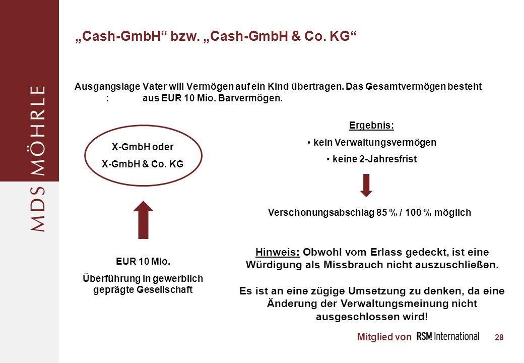 Mitglied von Cash-GmbH bzw.Cash-GmbH & Co.