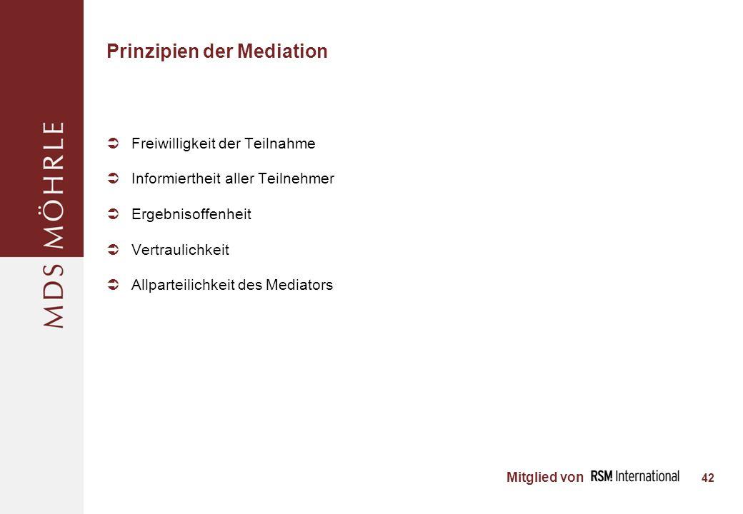 Mitglied von Prinzipien der Mediation Freiwilligkeit der Teilnahme Informiertheit aller Teilnehmer Ergebnisoffenheit Vertraulichkeit Allparteilichkeit des Mediators 42