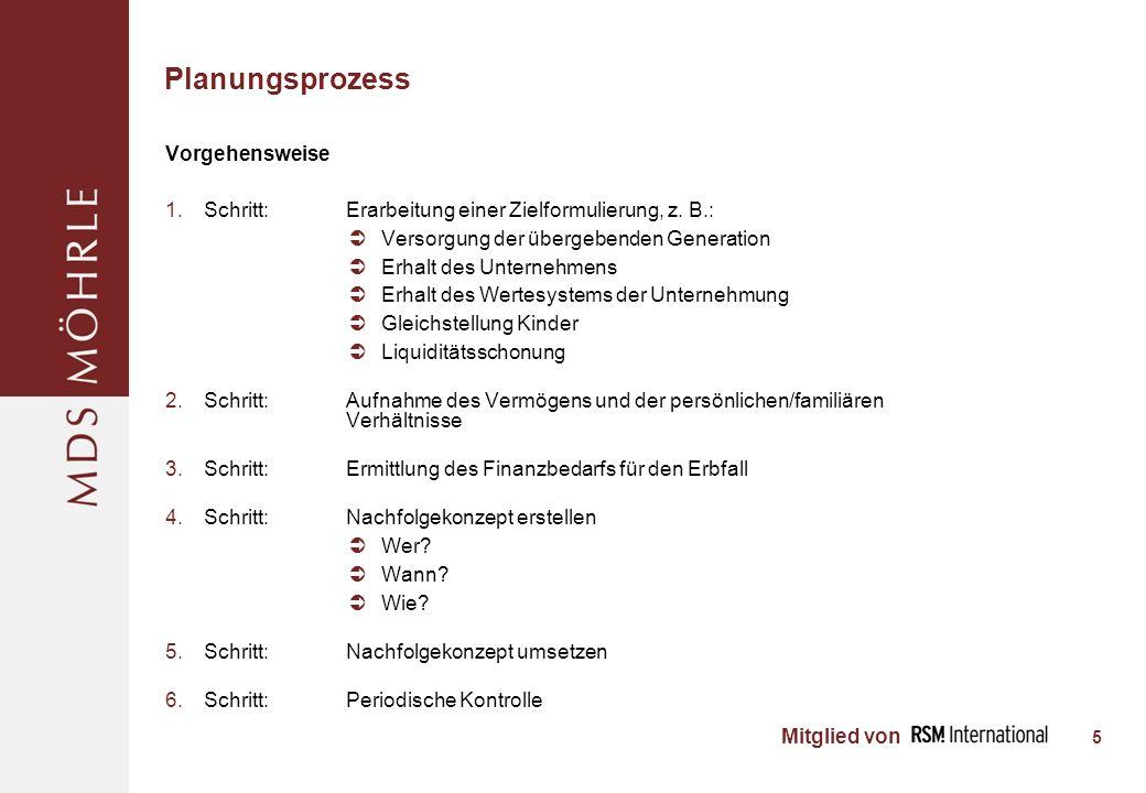 Mitglied von Planungsprozess 5 Vorgehensweise Schritt: Erarbeitung einer Zielformulierung, z.