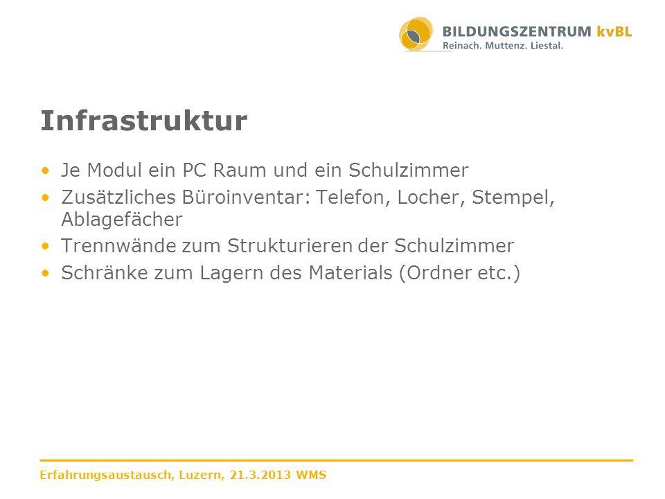 Bewertungsraster Note 4 bei 55% Unterschiedliche Raster je Modul Unterschiedliche Raster je Aufgabe innerhalb der Module Erfahrungsaustausch, Luzern, 21.3.2013 WMS