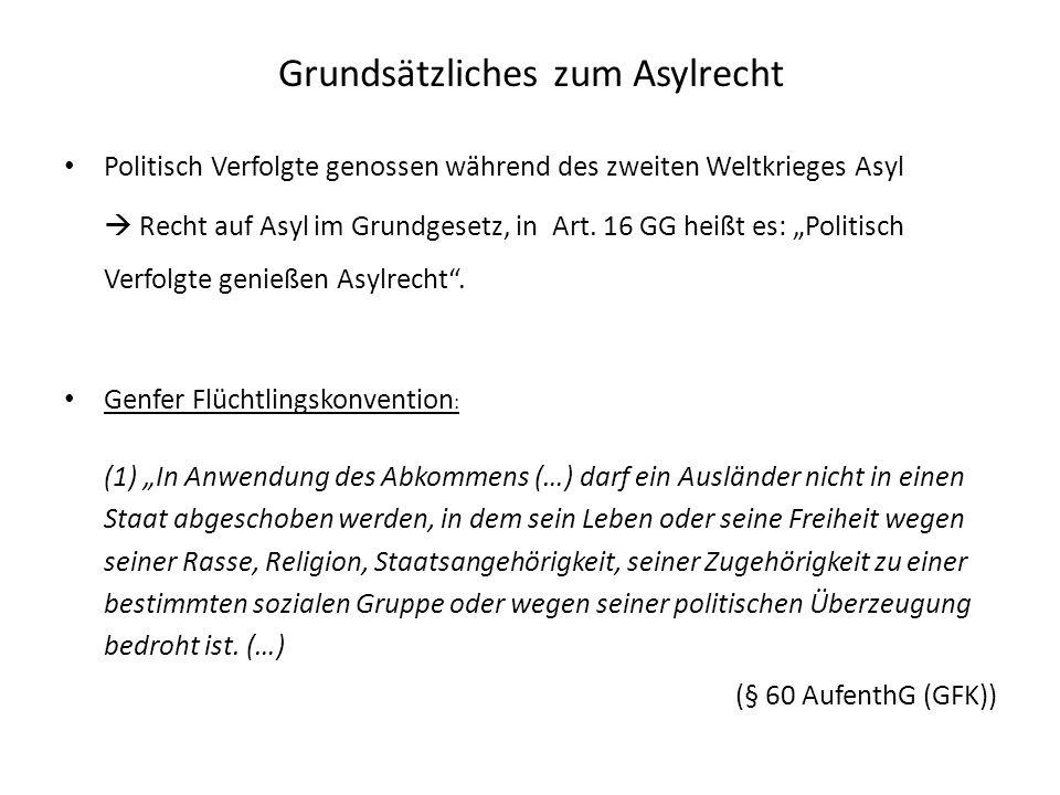 Grundsätzliches zum Asylrecht Politisch Verfolgte genossen während des zweiten Weltkrieges Asyl Recht auf Asyl im Grundgesetz, in Art. 16 GG heißt es: