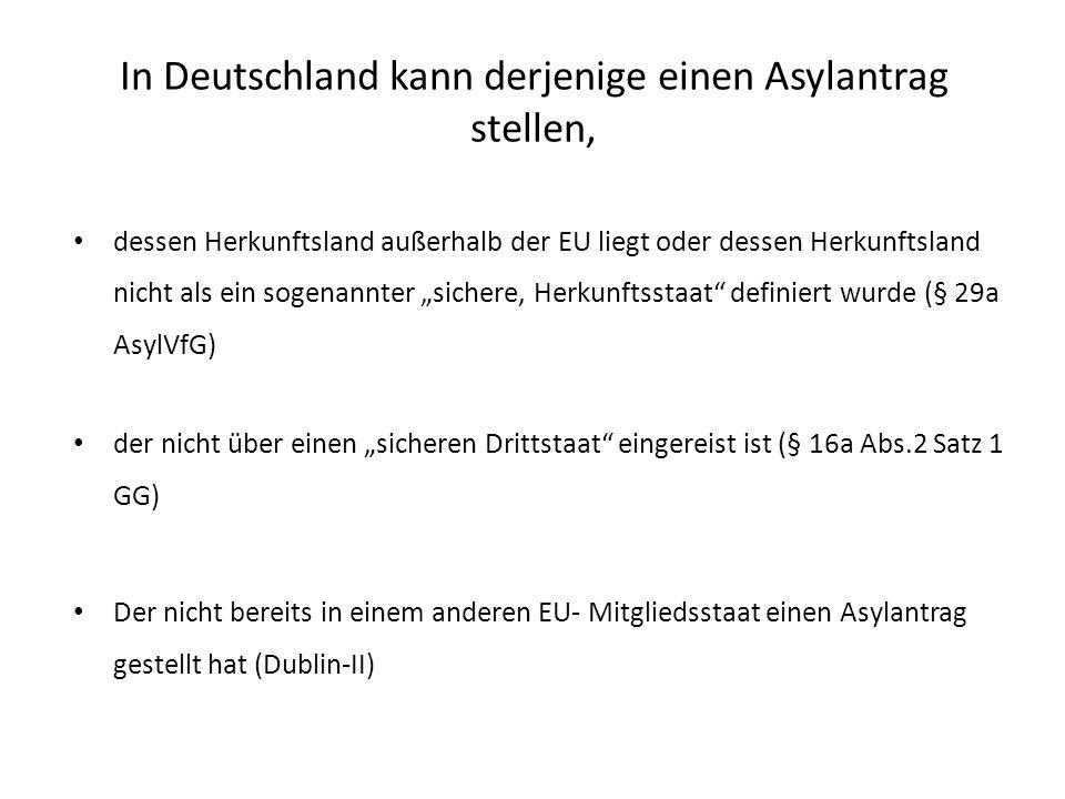 In Deutschland kann derjenige einen Asylantrag stellen, dessen Herkunftsland außerhalb der EU liegt oder dessen Herkunftsland nicht als ein sogenannter sichere, Herkunftsstaat definiert wurde (§ 29a AsylVfG) der nicht über einen sicheren Drittstaat eingereist ist (§ 16a Abs.2 Satz 1 GG) Der nicht bereits in einem anderen EU- Mitgliedsstaat einen Asylantrag gestellt hat (Dublin-II)