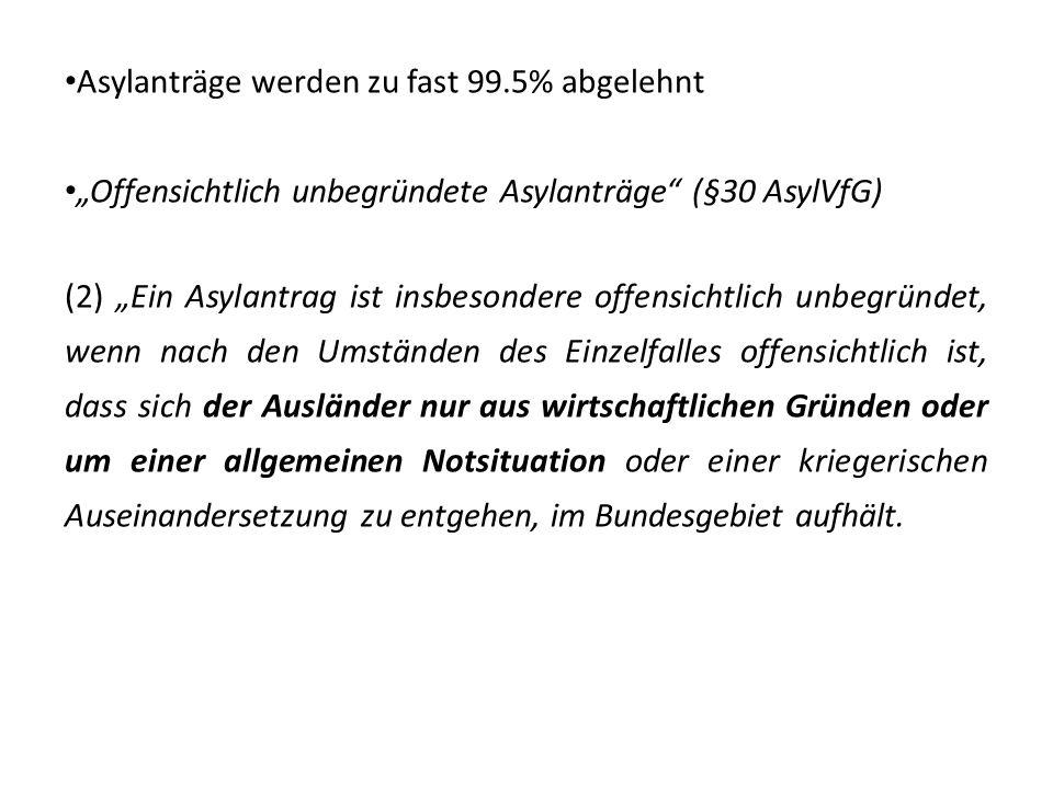 Asylanträge werden zu fast 99.5% abgelehnt Offensichtlich unbegründete Asylanträge (§30 AsylVfG) (2) Ein Asylantrag ist insbesondere offensichtlich un