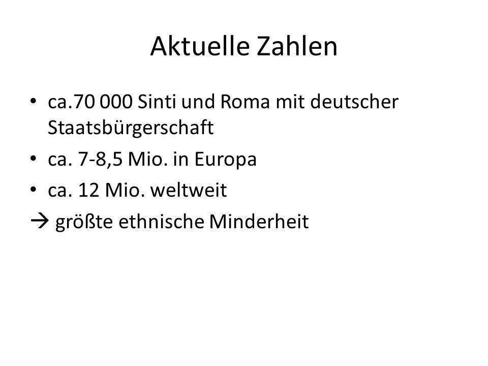 Aktuelle Zahlen ca.70 000 Sinti und Roma mit deutscher Staatsbürgerschaft ca. 7-8,5 Mio. in Europa ca. 12 Mio. weltweit größte ethnische Minderheit