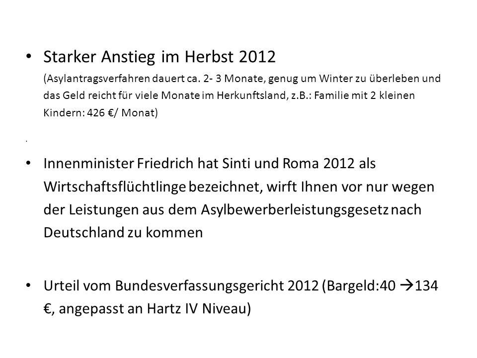 Starker Anstieg im Herbst 2012 (Asylantragsverfahren dauert ca. 2- 3 Monate, genug um Winter zu überleben und das Geld reicht für viele Monate im Herk