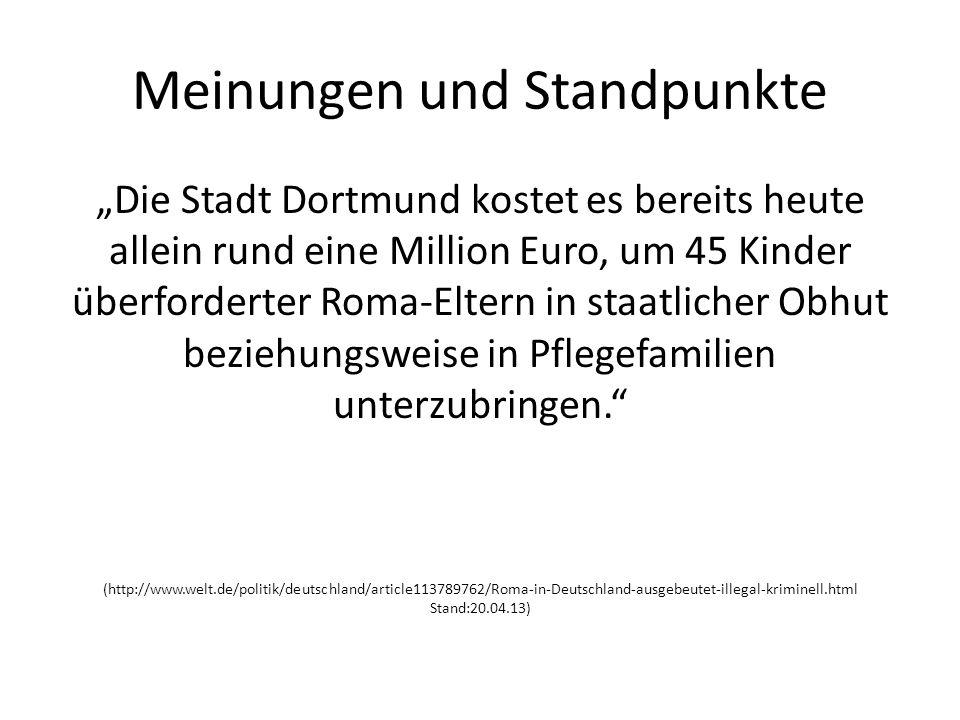 Meinungen und Standpunkte Die Stadt Dortmund kostet es bereits heute allein rund eine Million Euro, um 45 Kinder überforderter Roma-Eltern in staatlicher Obhut beziehungsweise in Pflegefamilien unterzubringen.