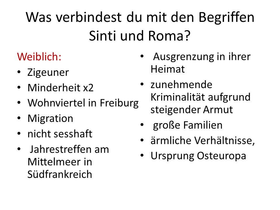 Was verbindest du mit den Begriffen Sinti und Roma? Weiblich: Zigeuner Minderheit x2 Wohnviertel in Freiburg Migration nicht sesshaft Jahrestreffen am