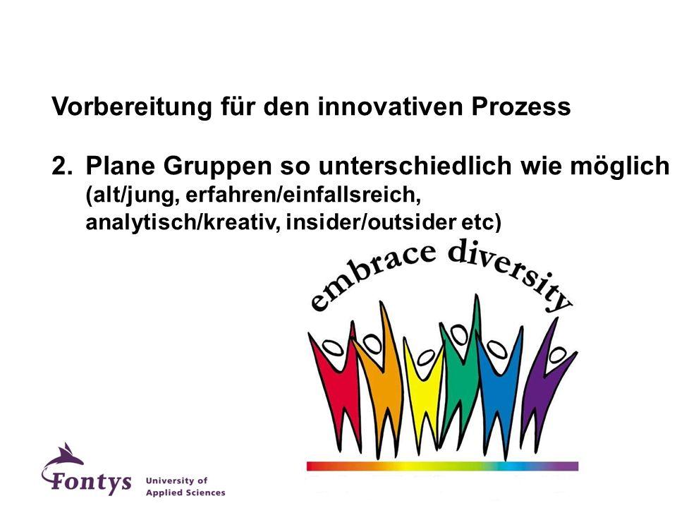 Vorbereitung für den innovativen Prozess 2.Plane Gruppen so unterschiedlich wie möglich (alt/jung, erfahren/einfallsreich, analytisch/kreativ, insider
