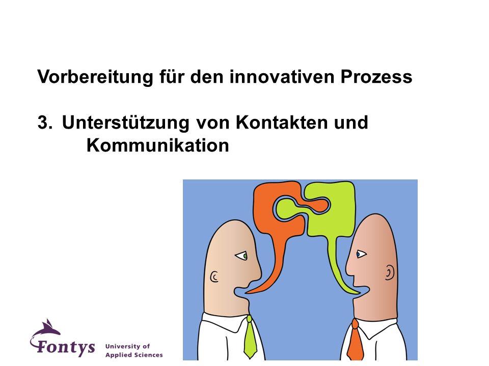 Vorbereitung für den innovativen Prozess 3.Unterstützung von Kontakten und Kommunikation