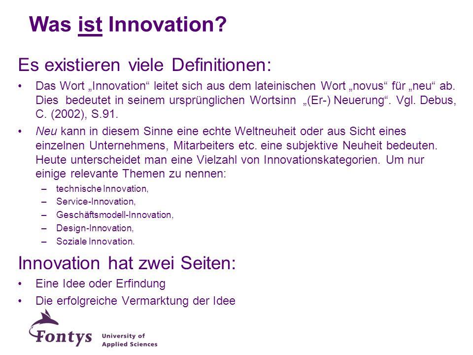 Was ist Innovation? Es existieren viele Definitionen: Das Wort Innovation leitet sich aus dem lateinischen Wort novus für neu ab. Dies bedeutet in sei