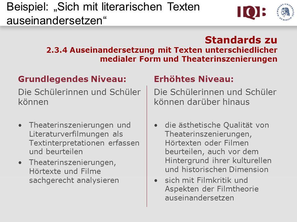 Standards zu 2.3.4 Auseinandersetzung mit Texten unterschiedlicher medialer Form und Theaterinszenierungen Grundlegendes Niveau: Die Schülerinnen und