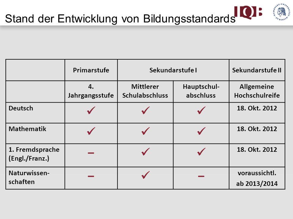 PrimarstufeSekundarstufe ISekundarstufe II 4. Jahrgangsstufe Mittlerer Schulabschluss Hauptschul- abschluss Allgemeine Hochschulreife Deutsch 18. Okt.