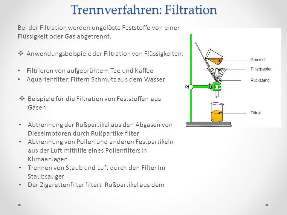 Trennverfahren: Filtration Bei der Filtration werden ungelöste Feststoffe von einer Flüssigkeit oder Gas abgetrennt. Anwendungsbeispiele der Filtratio