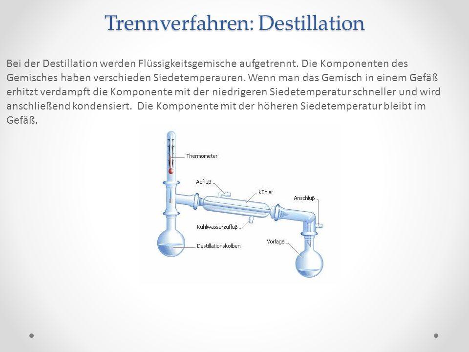 Trennverfahren: Destillation Bei der Destillation werden Flüssigkeitsgemische aufgetrennt. Die Komponenten des Gemisches haben verschieden Siedetemper
