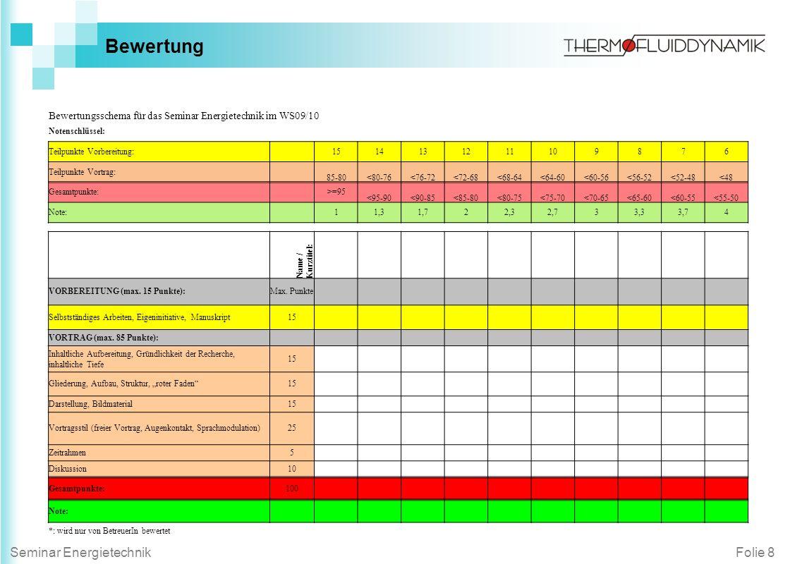 Folie 8Seminar Energietechnik Bewertung Bewertungsschema für das Seminar Energietechnik im WS09/10 Notenschlüssel: Teilpunkte Vorbereitung: 1514131211