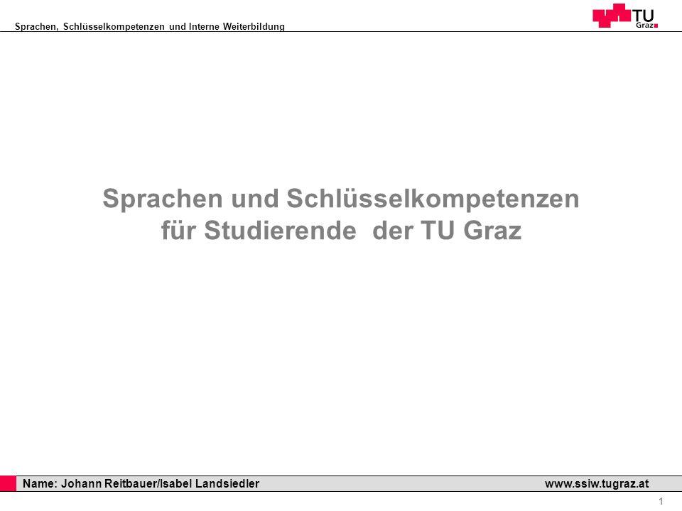 Sprachen, Schlüsselkompetenzen und Interne Weiterbildung Professor Horst Cerjak, 19.12.2005 1 Name: Johann Reitbauer/Isabel Landsiedler www.ssiw.tugra