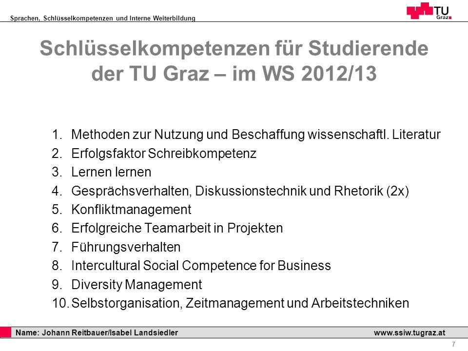 Sprachen, Schlüsselkompetenzen und Interne Weiterbildung Professor Horst Cerjak, 19.12.2005 7 Name: Johann Reitbauer/Isabel Landsiedler www.ssiw.tugra