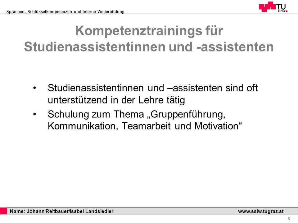 Sprachen, Schlüsselkompetenzen und Interne Weiterbildung Professor Horst Cerjak, 19.12.2005 8 Name: Johann Reitbauer/Isabel Landsiedler www.ssiw.tugra