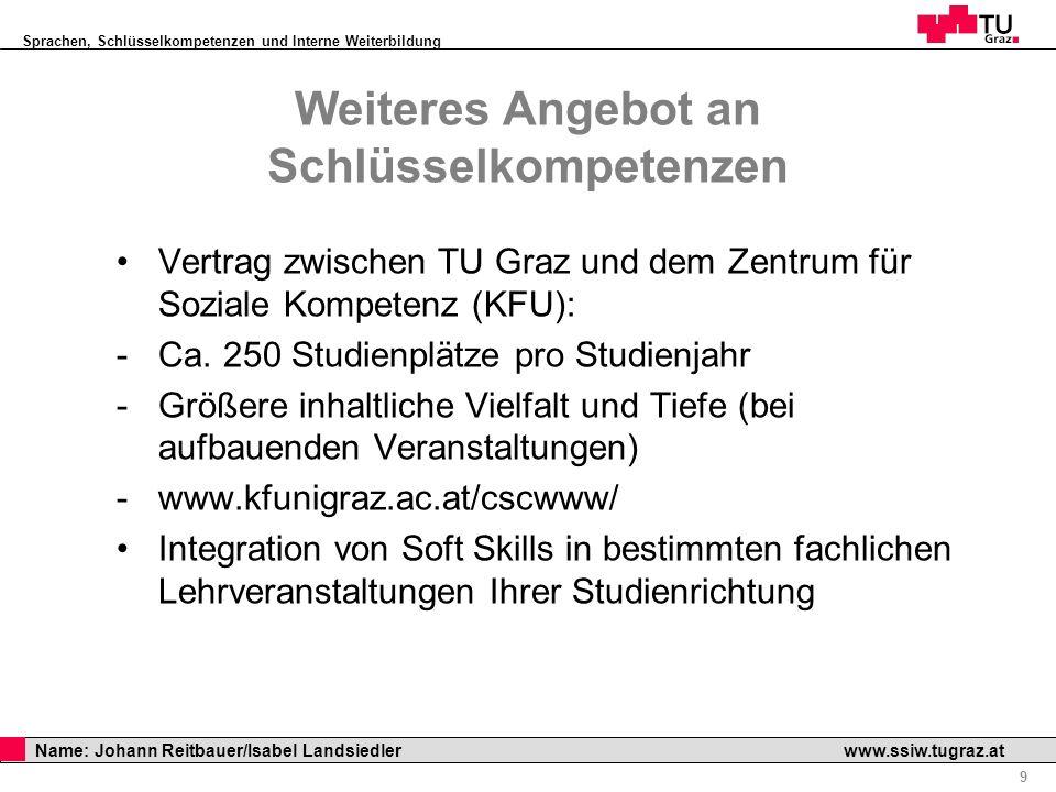 Sprachen, Schlüsselkompetenzen und Interne Weiterbildung Professor Horst Cerjak, 19.12.2005 9 Name: Johann Reitbauer/Isabel Landsiedler www.ssiw.tugra